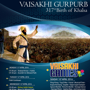 VAISAKHI GURPURB 317th bIRTH OF Khalsa, 2016